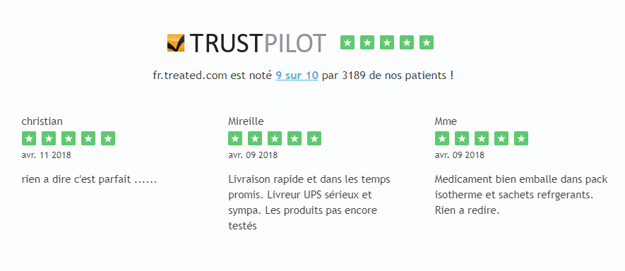 Treated est noté 9/10 sur Trust Pilot, un système spécialisé dans la collecte d'avis clients vérifiés